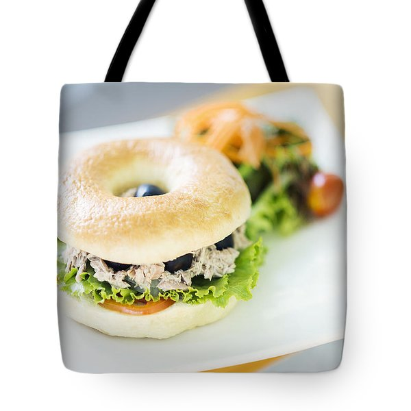 Tuna And Olive Bagel With Mixed Salad Tote Bag