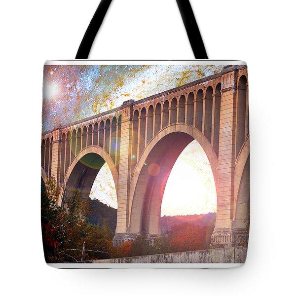 Tunkhannock Viaduct, Nicholson Bridge, Starry Night Fantasy Tote Bag