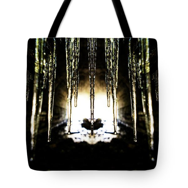 Tunnel Icicles Reflection Tote Bag