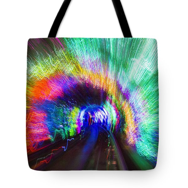 Tote Bag featuring the photograph Tunnel Lights by Angela DeFrias