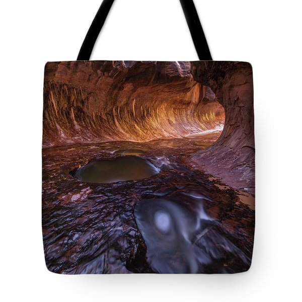 Tunnel Of Ice And Light Tote Bag by Dustin LeFevre