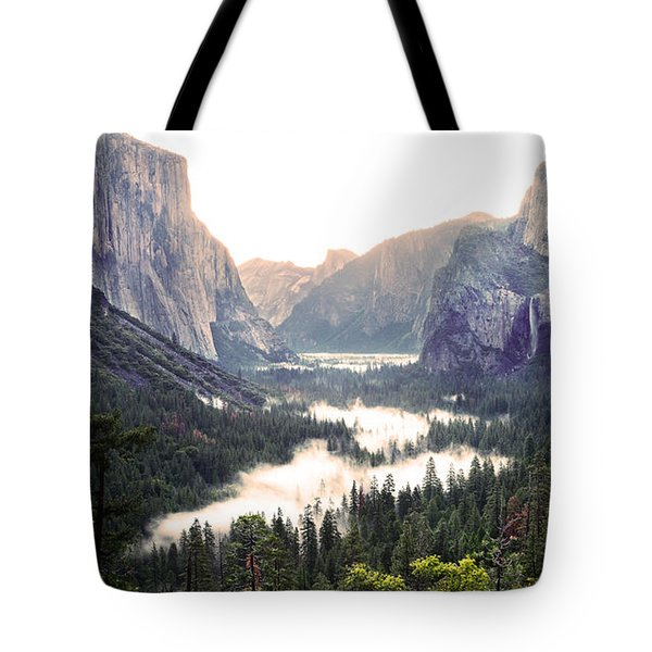Tote Bag featuring the photograph Tunnel View At Dawn In Yosemite National Park by MaryJane Armstrong