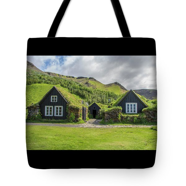 Turf Roof Houses And Shed, Skogar, Iceland Tote Bag