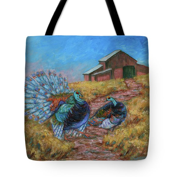 Tote Bag featuring the painting Turkey Tom's Tango by Xueling Zou