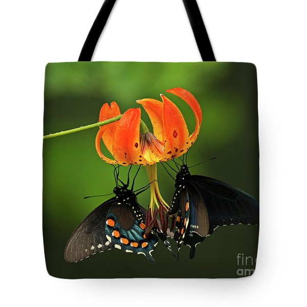 Turks Cap Lilly And Butterflies, Blue Ridge Parkway Tote Bag
