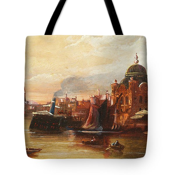Turks Rowing On The Bosphorus Before A Mosque Tote Bag