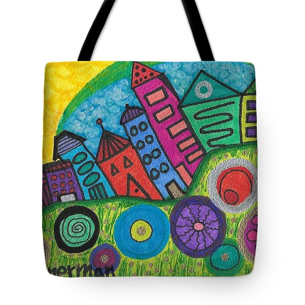 Turning Funky City On Its Ear Tote Bag