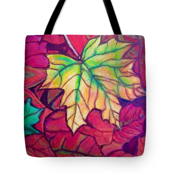 Tote Bag featuring the painting Turning Maple Leaf In The Fall by Kimberlee Baxter
