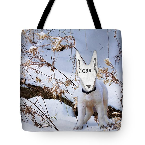 turnOmatic White Swiss Shepherd Pup Tote Bag