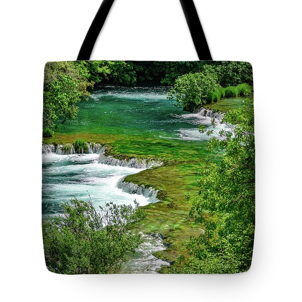 Turqouise Waterfalls Of Skradinski Buk At Krka National Park In Croatia Tote Bag