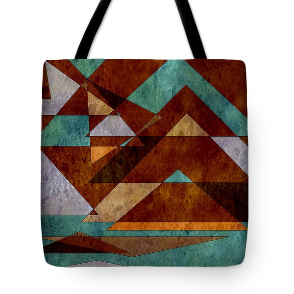 Turquoise And Bronze Triangle Design With Copper Tote Bag