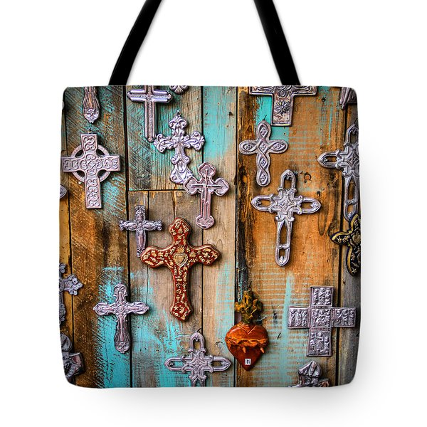 Turquoise And Crosses Tote Bag