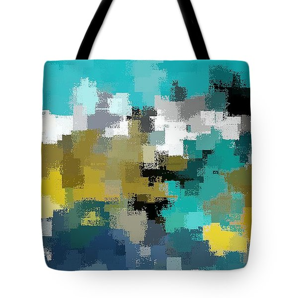 Tote Bag featuring the digital art Turquoise And Gold by David Manlove