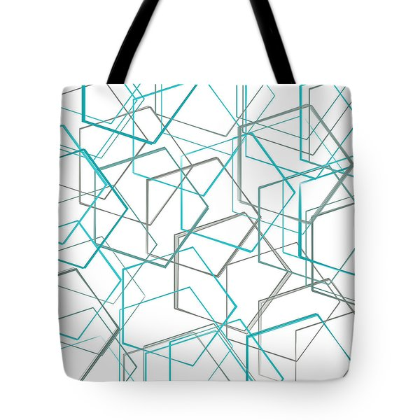 Turquoise And Gray Tote Bag