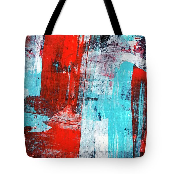Tote Bag featuring the painting Turquoise And Red Abstract Painting by Christina Rollo