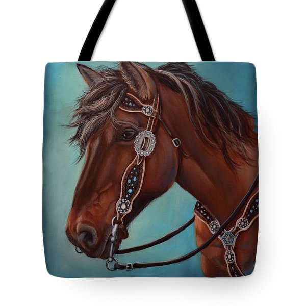Turquoise And Silver Tote Bag