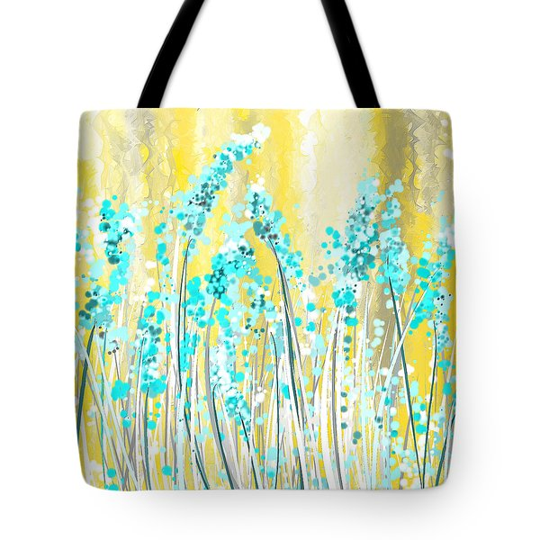 Turquoise And Yellow Tote Bag