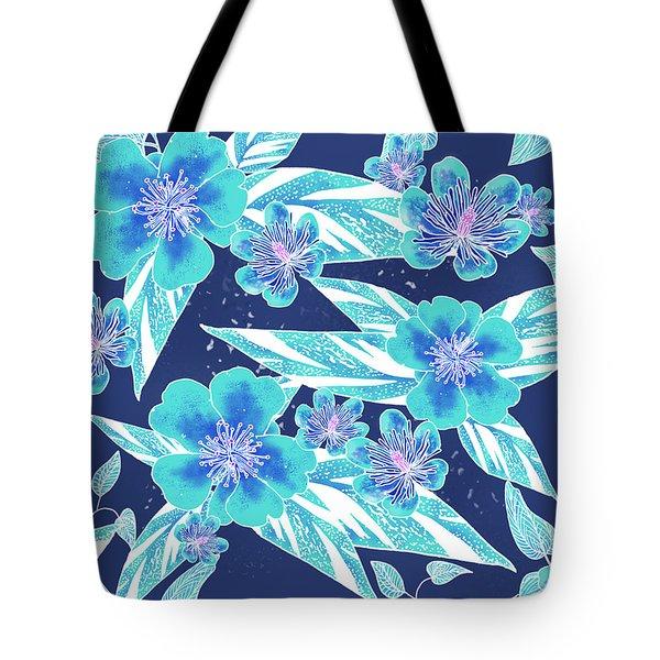 Turquoise Batik Camellias And Ginger Large Tote Bag