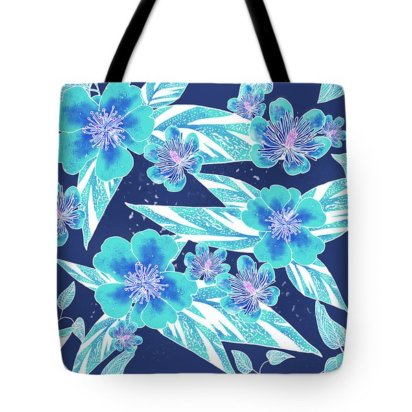 Turquoise Batik Camellias And Ginger Large Tote Bag
