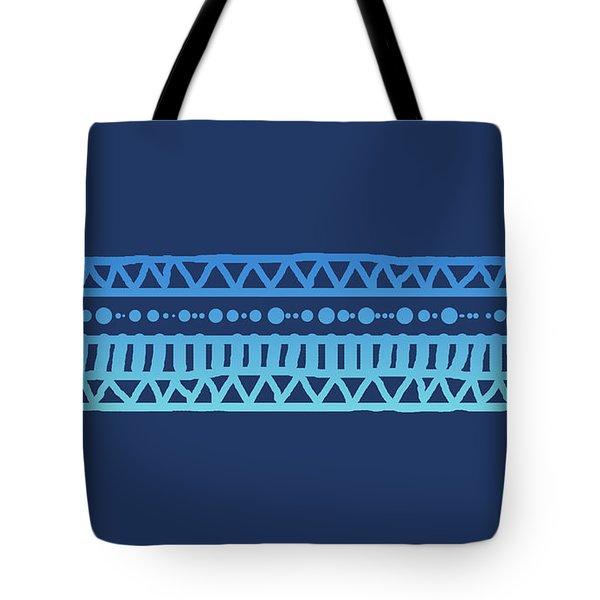 Turquoise Batik Tribal Stripe Tote Bag