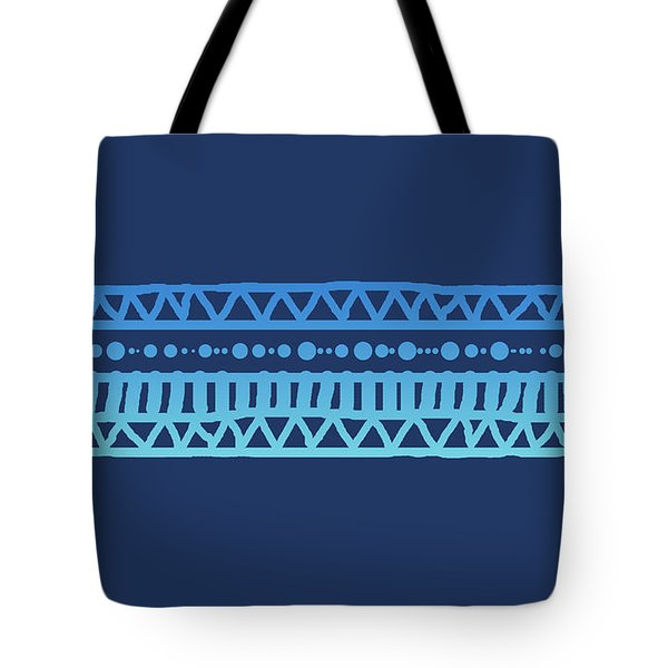 Turquoise Batik Tribal Stripe Tote Bag