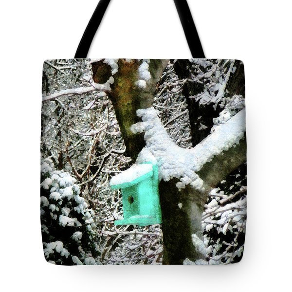 Turquoise Birdhouse In Winter Tote Bag by Susan Savad