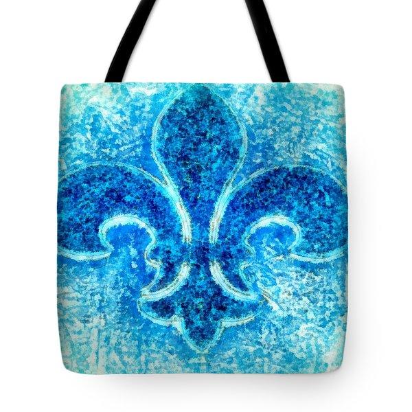 Turquoise Bleu Fleur De Lys Tote Bag by Janine Riley
