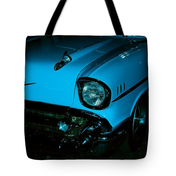 Turquoise Chevy Tote Bag by DigiArt Diaries by Vicky B Fuller