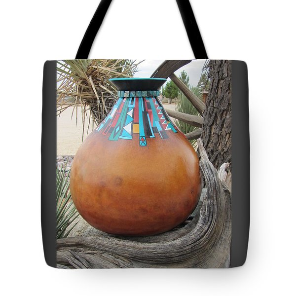 Turquoise Design Tote Bag by Barbara Prestridge
