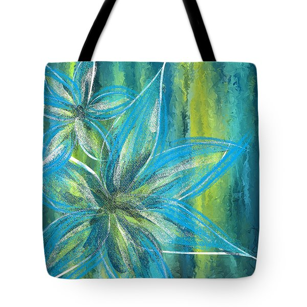 Turquoise Florals Tote Bag