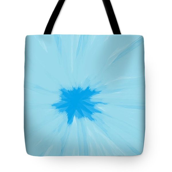 Turquoise Flower Abstract Tote Bag by Linda Velasquez