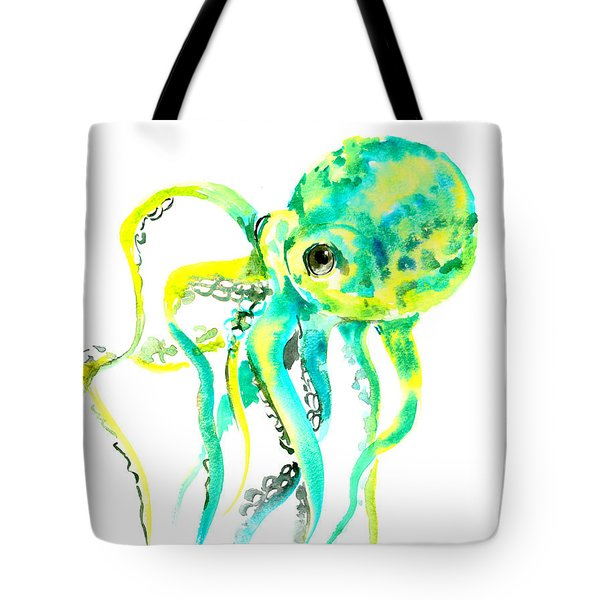 Turquoise Green Octopus Tote Bag by Suren Nersisyan