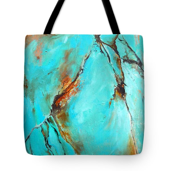 Tote Bag featuring the painting Turquoise Impression by Cher Devereaux