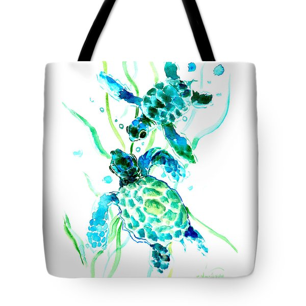 Turquoise Indigo Sea Turtles Tote Bag