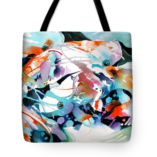 Tote Bag featuring the painting Turquoise Koi Patterns by Rae Andrews