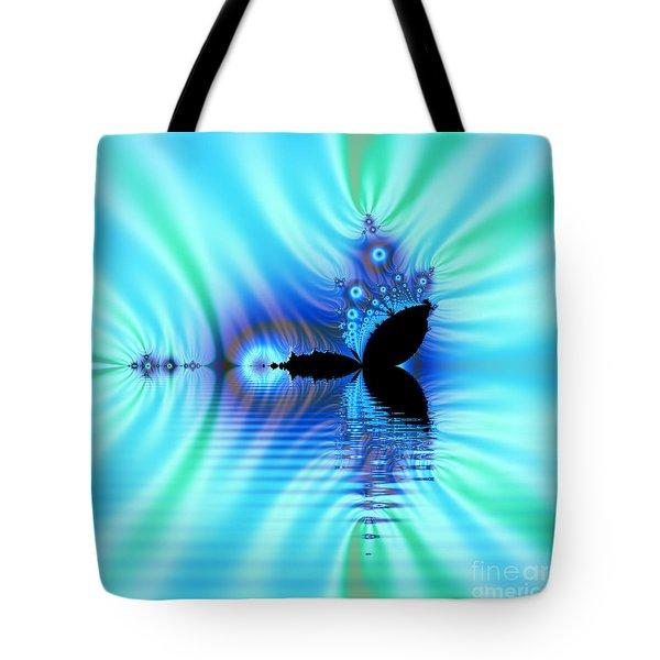 Turquoise Lake Fractal Tote Bag