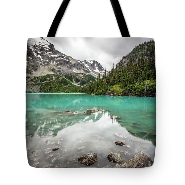 Turquoise Lake In The Mountains Tote Bag