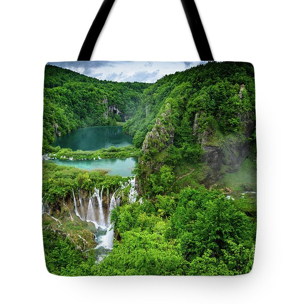 Turquoise Lakes And Waterfalls - A Dramatic View, Plitivice Lakes National Park Croatia Tote Bag