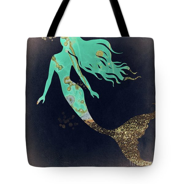 Turquoise Mermaid Tote Bag by Mindy Sommers
