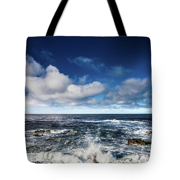 Tote Bag featuring the photograph Turquoise Pacific Ocean Sea Water Rolling Waves And Rock With Bl by Jingjits Photography