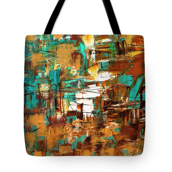 Tote Bag featuring the painting Turquoise Scent by Carmen Guedez
