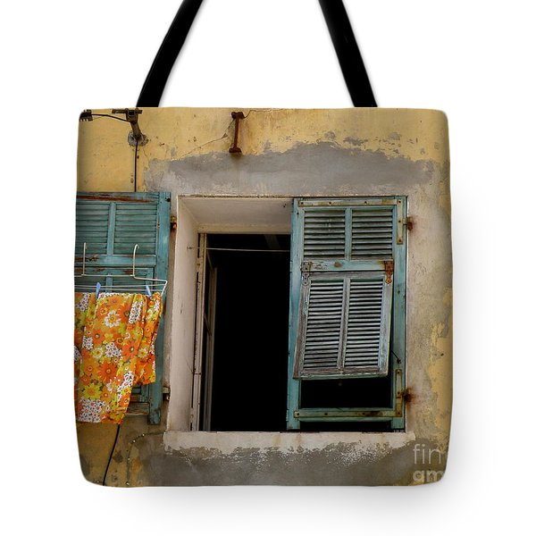 Turquoise Shuttered Window Tote Bag
