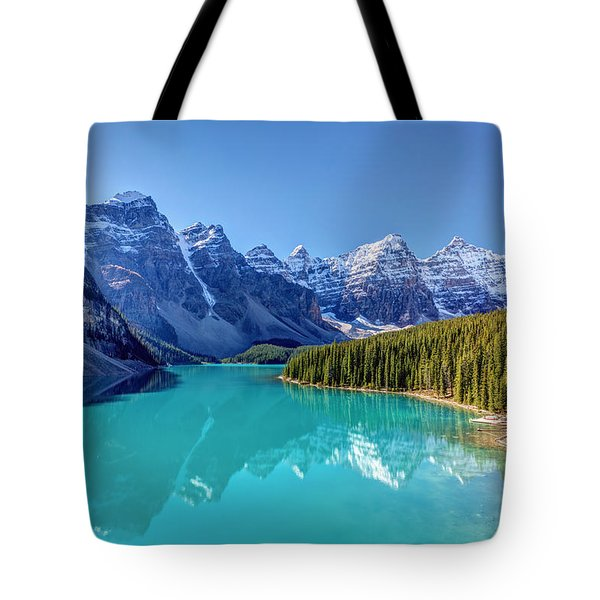 Turquoise Splendor Moraine Lake Tote Bag by Pierre Leclerc Photography