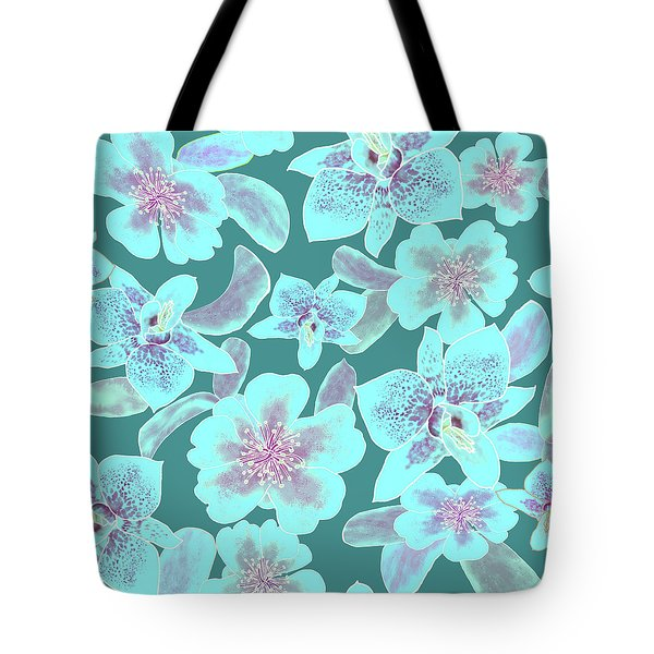 Turquoise Spotted Orchids On Teal Tote Bag