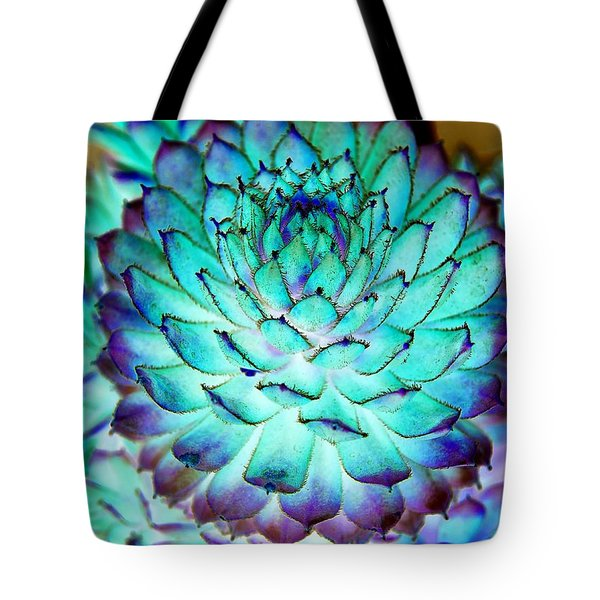 Tote Bag featuring the photograph Turquoise Succulent 2 by Marianne Dow