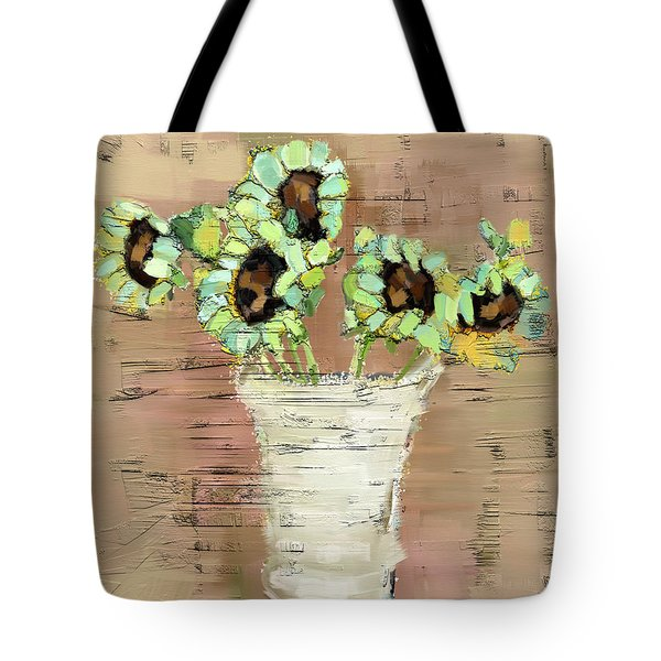 Tote Bag featuring the painting Turquoise Sunflowers by Carrie Joy Byrnes