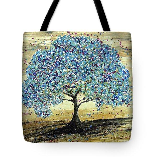 Turquoise Tree Tote Bag