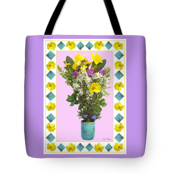 Tote Bag featuring the digital art Turquoise Vase With Spring Bouquet by Lise Winne