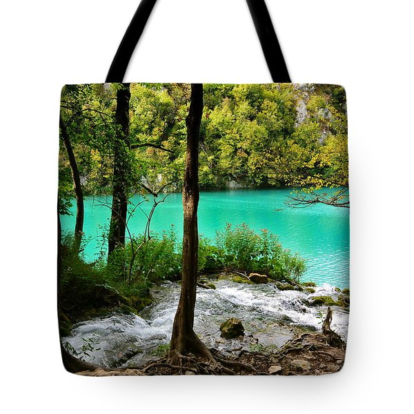 Turquoise Waters Of Milanovac Lake Tote Bag by Two Small Potatoes