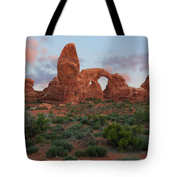 Tote Bag featuring the photograph Turret Arch by Aaron Spong